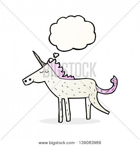 cartoon unicorn with thought bubble