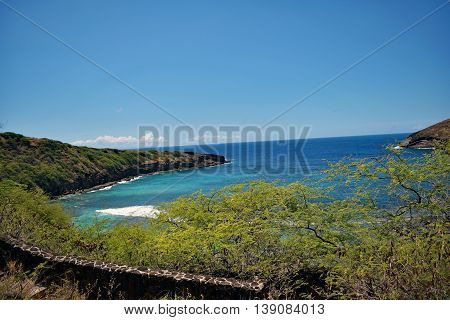 Scenic View of Hanauma Bay, Oahu, Hawaii