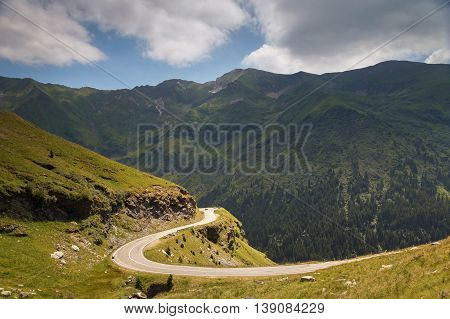 Beautiful mountain road, Transfagarasan highway in a summer day