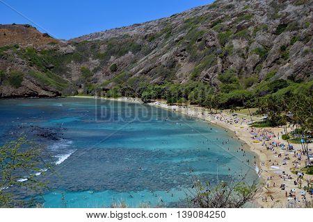 Scenic View of Hanauma Bay, Hawaii Island