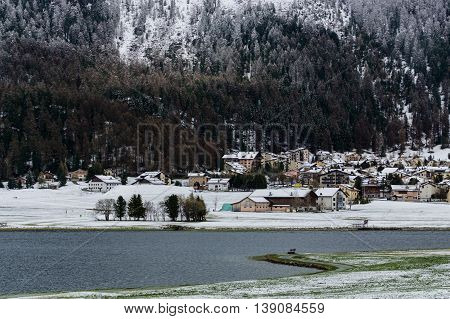 Winter in the swiss village from St.moritz Switzerland