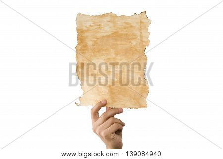 A hands holding old paper brown art