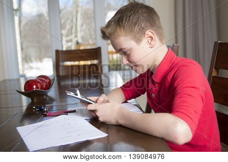 A boy doing his homework at home