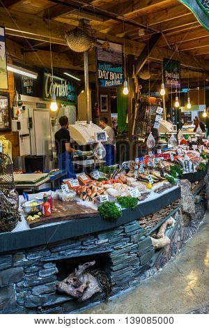 London UK - June 18 2016: Borough Market with unidentified people in Southwark Central London. It is is a wholesale and retail food market one of the largest and oldest in London