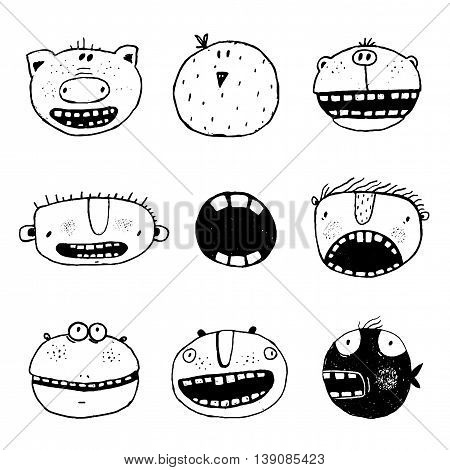 Linear style people icon set. Cartoon style, different characters and personalities. Vector monochrome outline illustration. Funny illustration for kids, black and white.