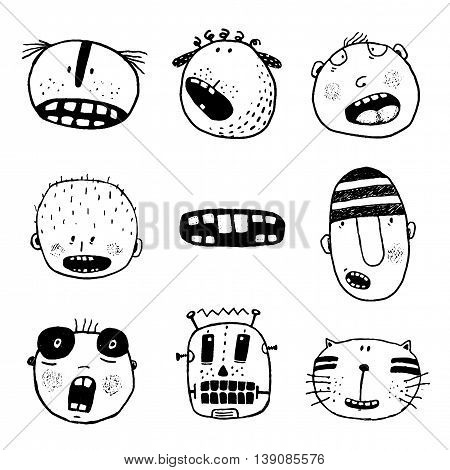 Linear style people mouth icon set. Cartoon style, different emotions and expressions. Vector monochrome outline illustration. Fun set for design, black and white.