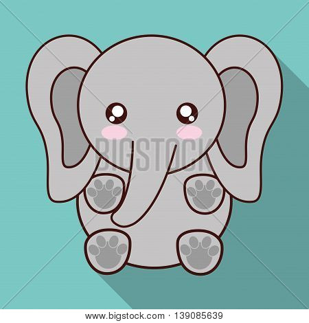 Cute animal design represented by kawaii elephant icon. Colorfull and flat illustration.