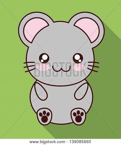 Cute animal design represented by kawaii mouse icon. Colorfull and flat illustration.