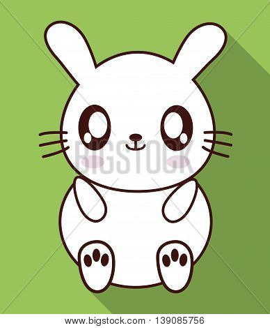 Cute animal design represented by kawaii rabbit icon. Colorfull and flat illustration.