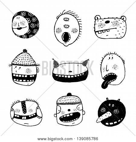 Heads monster collection. Cartoon style, different characters and personalities. Vector monochrome outline illustration. Funny illustration for black and white design.