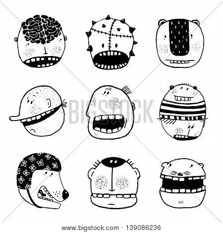 People characters icon collection. Cartoon drawing style, different personalities. Vector monochrome outline illustration. Funny illustrations for modern design, black and white.