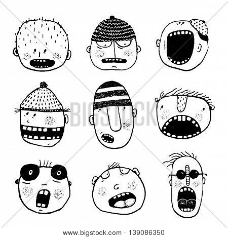 Strange characters collection. Cartoon style, various funny personalities. Vector monochrome outline illustration. Black and white designer set.