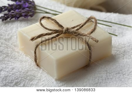 Piece of lavender soap and olive oil