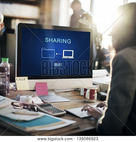 Sharing Information Networking Social Media Concept