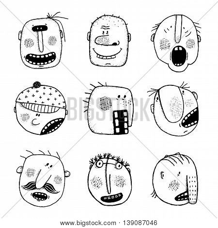 Strange portraits collection. Cartoon style, various fun human heads. Vector monochrome outline modern illustration. Black and white designer set.