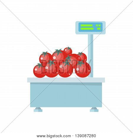 Tray with tomatoes on store scales vector. Flat design. Vegetables in supermarket illustration for stores, farms, signboards and ad. Weighing equipment for trade. Isolated on white background.