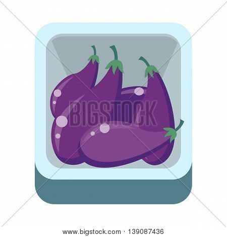 Eggplants in tray vector in flat style design. Grocery store assortment, foods for diet, fresh fruits concept. Illustration for icons, signboards, ad, infographics design. Isolated on white.