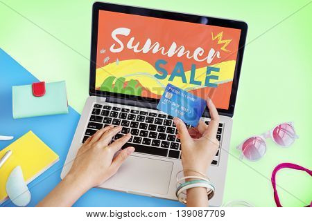 Summer Sale Online Purchase Hands Creditcard Concept