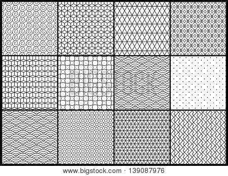 Universal different vector seamless patterns. Endless texture can be used for wallpaper, pattern fills, background, surface textures. Set of monochrome geometric ornaments