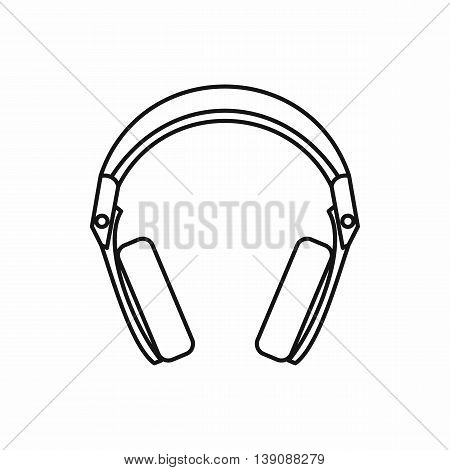 Headphones icon in outline style isolated vector illustration