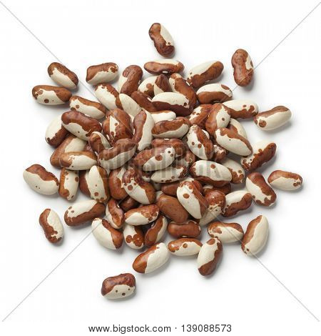 Heap of dried snowcap beans on white background