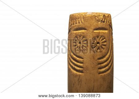 Prehistorical Eye idol belong to Chalcolithic period 3rd millennium BC. Isolated over white background
