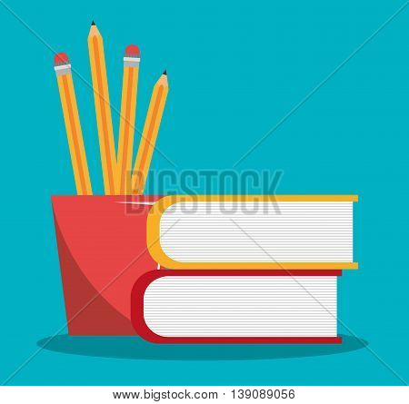 pencil holders with books  isolated icon design, vector illustration  graphic