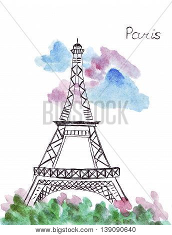 Illustration sketching landmark Paris Eiffel tower and flowers in front of her