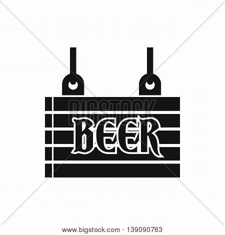 Street signboard of beer icon in simple style isolated vector illustration
