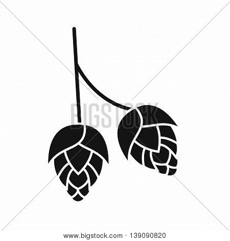 Branch of hops icon in simple style isolated vector illustration