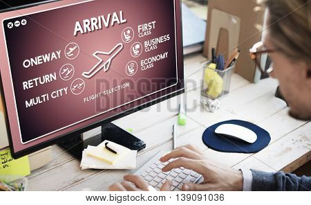 Arrival One way Airplane Boarding Booking Concept
