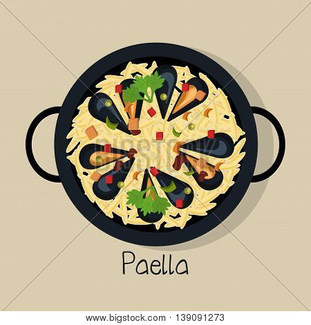 spanish paella isolated icon design, vector illustration  graphic