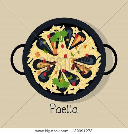 spanish paella isolated icon design, vector illustration  graphic