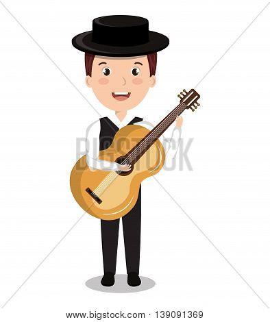 flamenco musician isolated icon design, vector illustration  graphic
