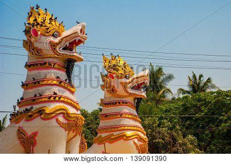 Chinthe At Shwemawdaw Pagoda , Bago In Myanmar. Burma.
