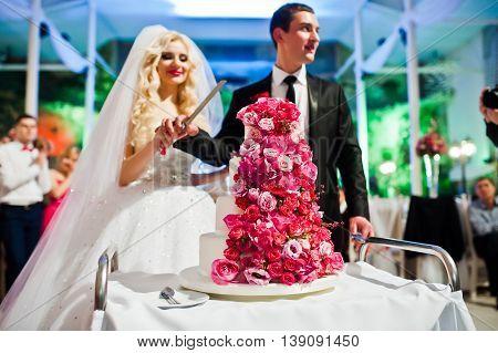 Wedding Couple With Sweet Wedding Cake With Pink Roses