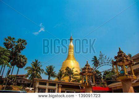 Shwemawdaw Pagoda Paya. Bago In Myanmar. Burma.