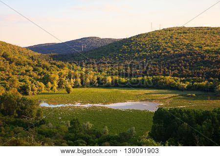 View of Lake Doberdò sinkhole in the Province of Gorizia Friuli-Venezia Giulia Italy