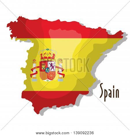 spain map with flag isolated icon design, vector illustration  graphic