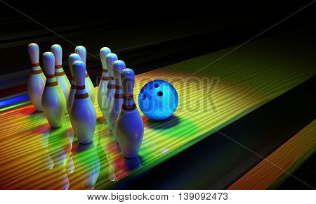 Glossy bowling ball and skittles on the alley. Dark scene with rainbow shining colors.