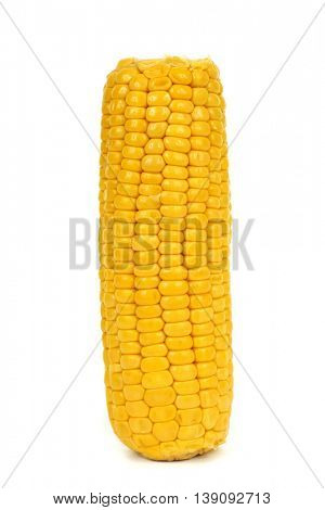 a cooked corncob on a white background