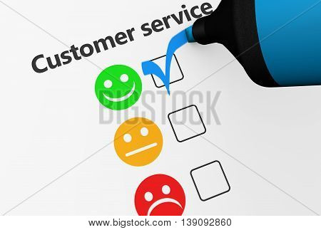 Customer service happy feedback rating checklist and business quality evaluation concept 3D illustration.