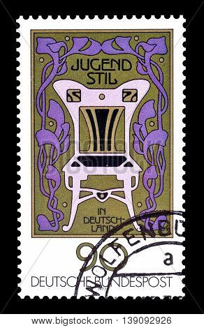 GERMANY - CIRCA 1977 : Cancelled postage stamp printed by Germany, that shows Athena head with helmet.