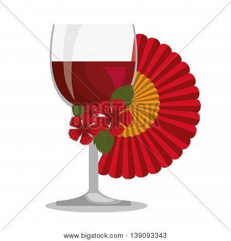 spanish fan with wine cup isolated icon design, vector illustration  graphic