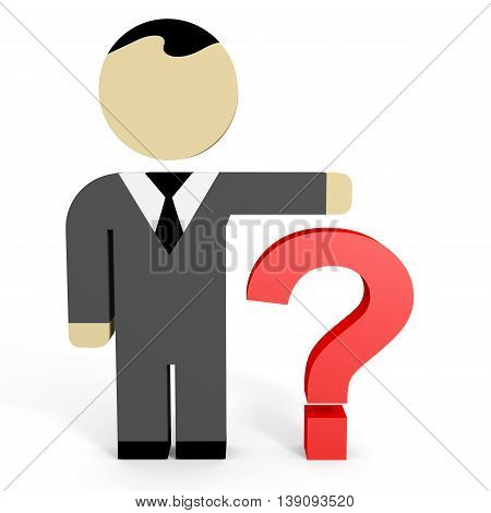 3D business people on white background. Question. 3D illustration.