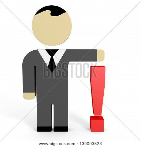 3D business people on white background. Answer. 3D illustration.