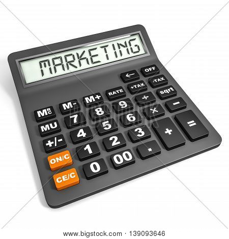Calculator With Marketing On Display.