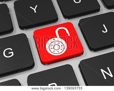 Unlocked Lockpad Key On Keyboard Of Laptop Computer.