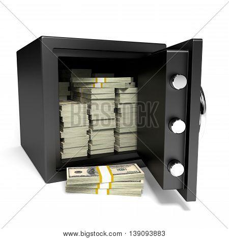 Safe and money on white background. 3D illustration.