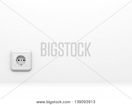 White electric socket at the wall on white background. 3D illustration.